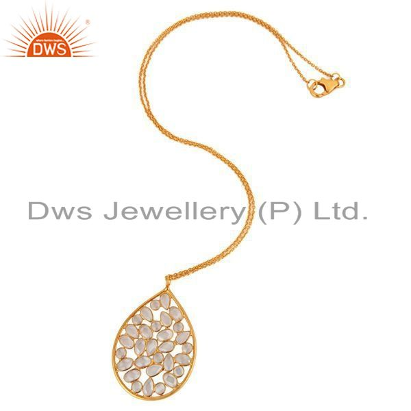 Exporter 18K Gold Plated 925 Sterling Silver White Zircon Tear Drop Pendant With Chain