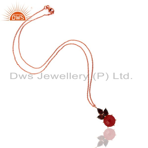 Exporter 18K Rose Gold Plated Sterling Silver Garnet And Red Aventurine Pendant Necklace