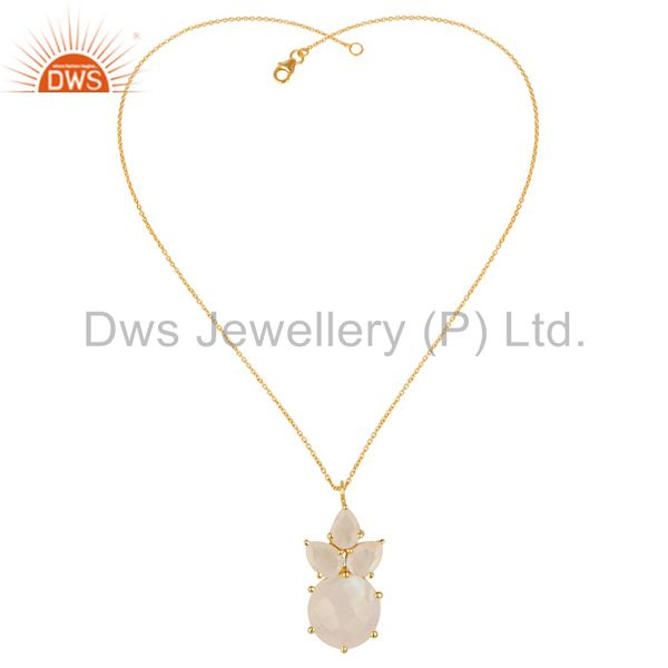 Exporter 14K Gold Plated 925 Sterling Silver Rainbow Moonstone Prong Set Chain Pendant