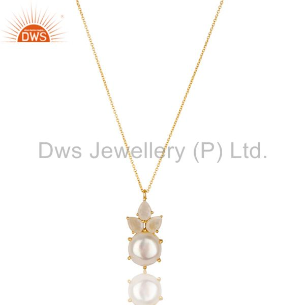 Exporter 14K Gold Plated 925 Silver Pearl & Rainbow Moonstone Prong Set Chain Pendant