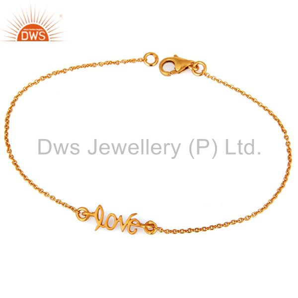 Exporter 18K Yellow Gold Plated Handmade Love Link Chain Bracelet With Lobster Loc