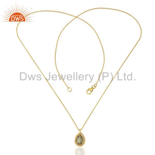 Exporter Labradorite White Topaz 14K Gold Plated Sterling Silver Chain Pendant Jewelry