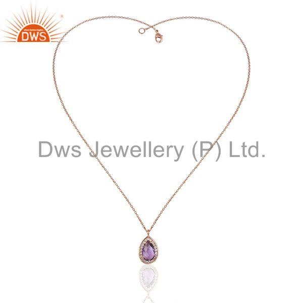 Exporter Natural Amethyst Birthstone Rose Gold 925 Silver Girls Chain Pendant