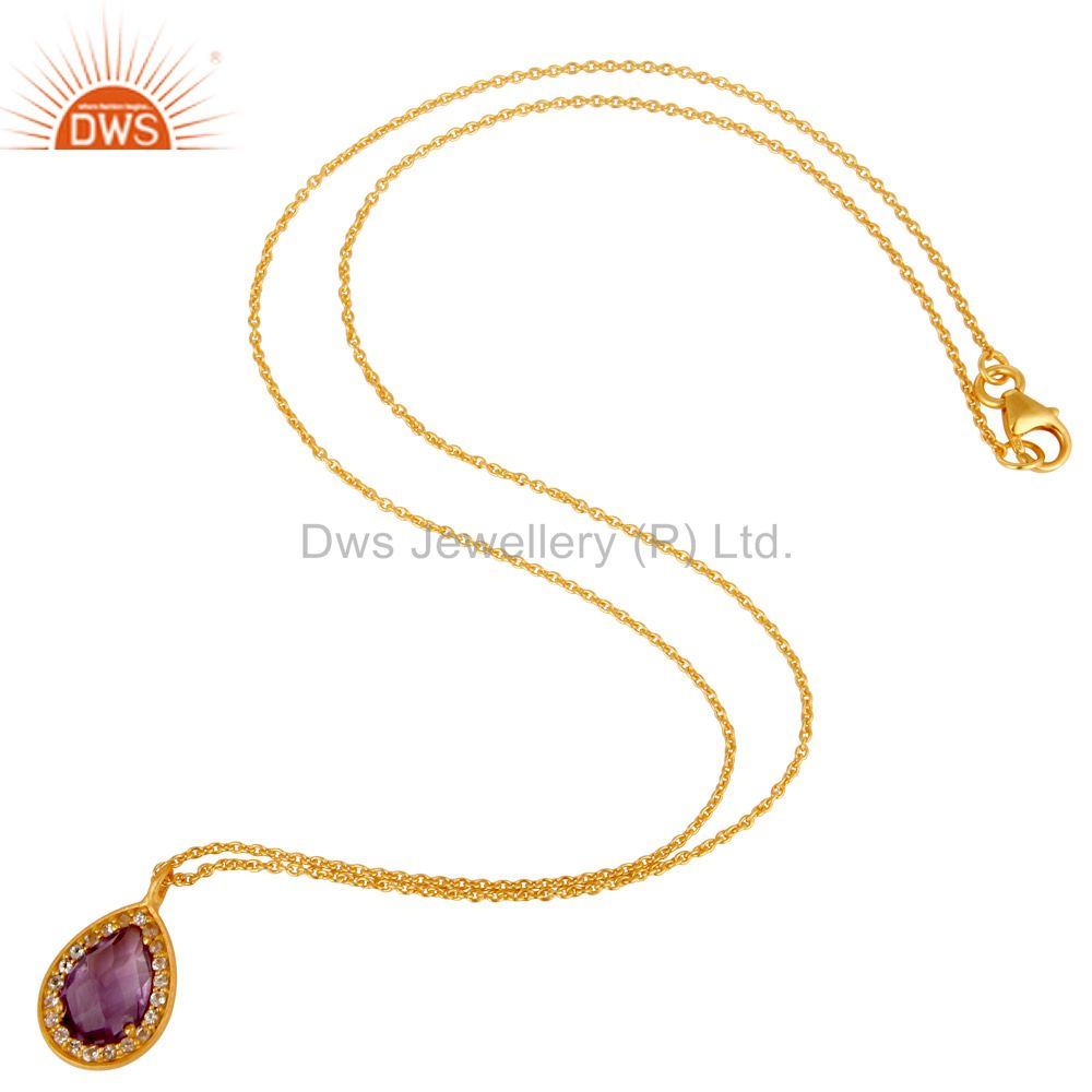 Exporter 22K Gold Plated 925 Sterling Silver Amethyst Chain Pendant Necklace Jewellery