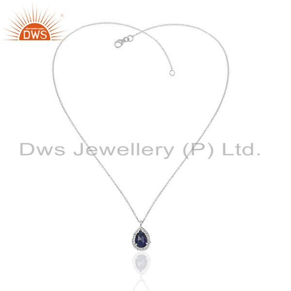 Exporter Blue Gemstone 925 Sterling Silver Topaz Chain Pendant Manufacturers