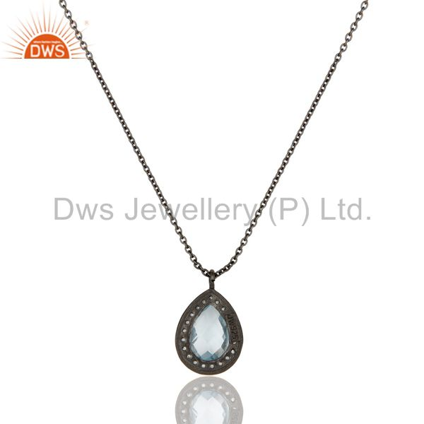 Exporter Oxidized Sterling Silver Blue Topaz And White Topaz Pendant With Chain Necklace