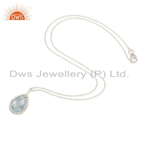 Exporter Blue Topaz & White Topaz Solid 925 Sterling Silver Chain Pendant Necklace