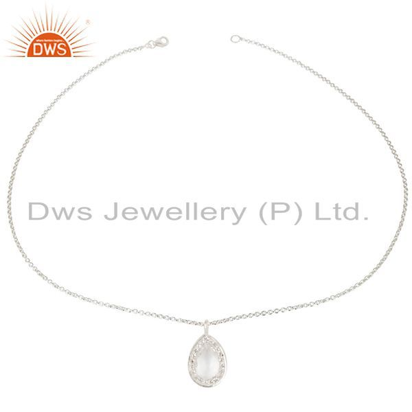 Exporter Solid 925 Sterling Silver Crystal Quartz And White Topaz Pendant With Chain