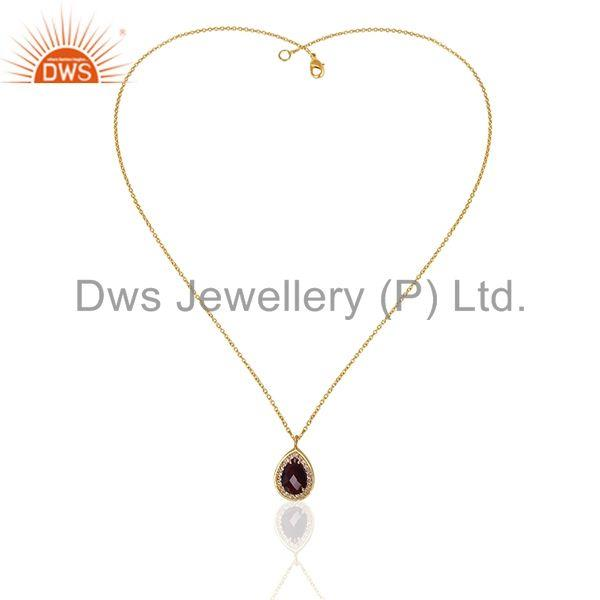 Exporter Garnet Birthstone Gold Plated 925 Silver Chain Pendant Manufacturer