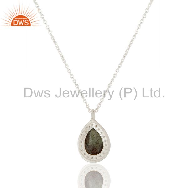 Exporter 925 Sterling Silver With Labradorite And White Topaz Pendant With Chain