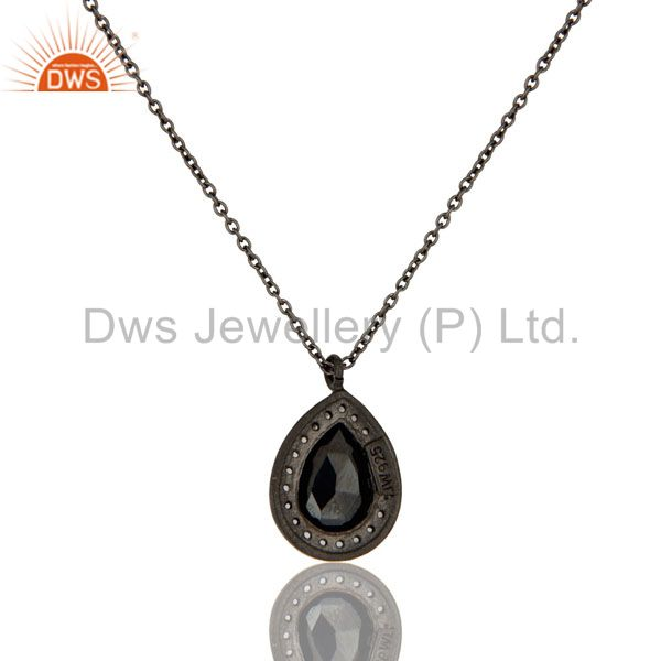 Wholesalers 925 Sterling Silver With Oxidized Hematite And White Topaz Pendant With Chain
