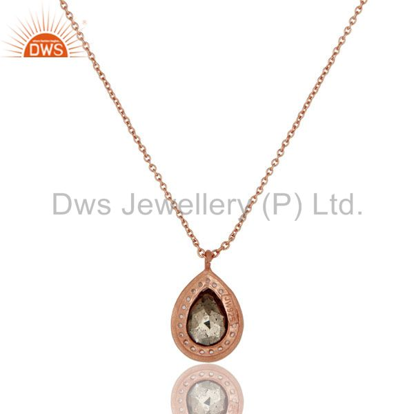 Exporter 18K Rose Gold Plated 925 Sterling Silver Hematite White Topaz Pendant Jewelry
