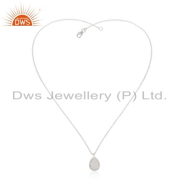 Exporter White Topaz and Rainbow Moonstone Fine Silver Chain Pendant Manufacturer