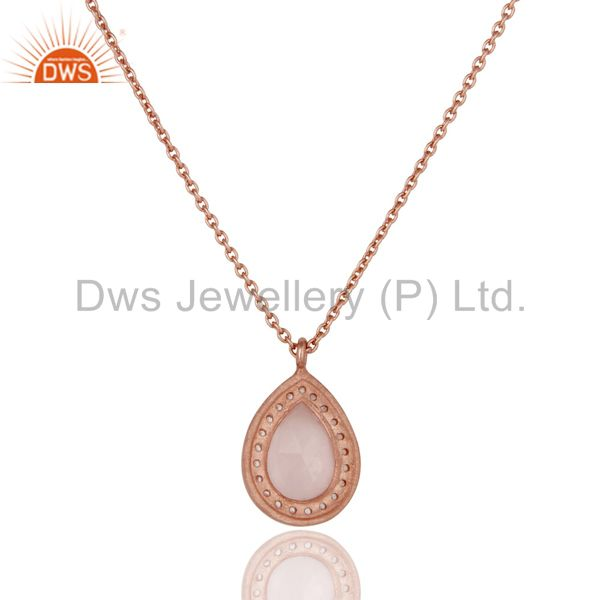 Exporter 18K Rose Gold Plated Sterling Silver Rose Quartz White Topaz Pendant With Chain