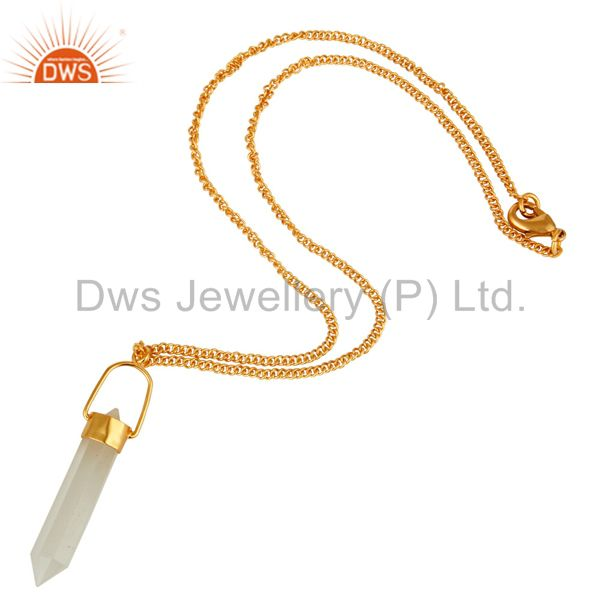 Exporter 14K Yellow Gold Plated Brass White Moonstone Double Sided Point Pendant Necklace