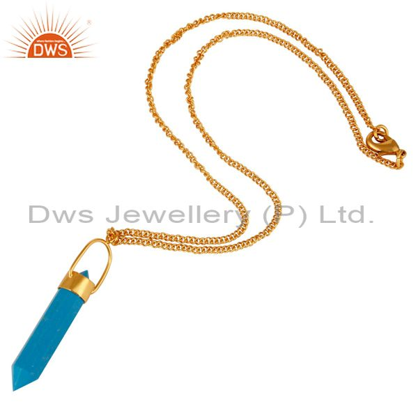 Exporter 14K Yellow Gold Plated Brass Turquoise Double Sided Point Pendant Necklace
