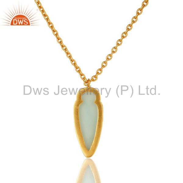 Exporter 14K Yellow Gold Plated Brass Aqua Chalcedony Designer Pendant With Chain
