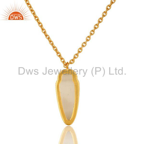 Exporter 14K Yellow Gold Plated Brass White Moonstone Designer Pendant With Chain