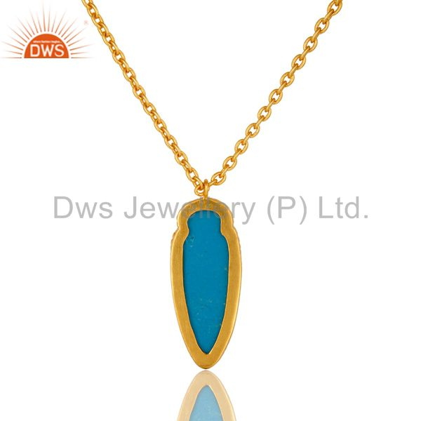 Exporter 14K Yellow Gold Plated Brass Turquoise Gemstone Fashion Pendant With Chain