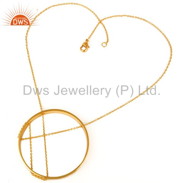 Exporter Traditional Handmade 18K Yellow Gold Plated Chain Pendant Fashion Jewellery