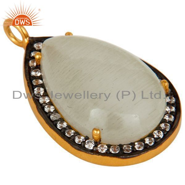 Exporter 18K Gold Plated Sterling Silver White Moonstone Prong Set Pendant With CZ