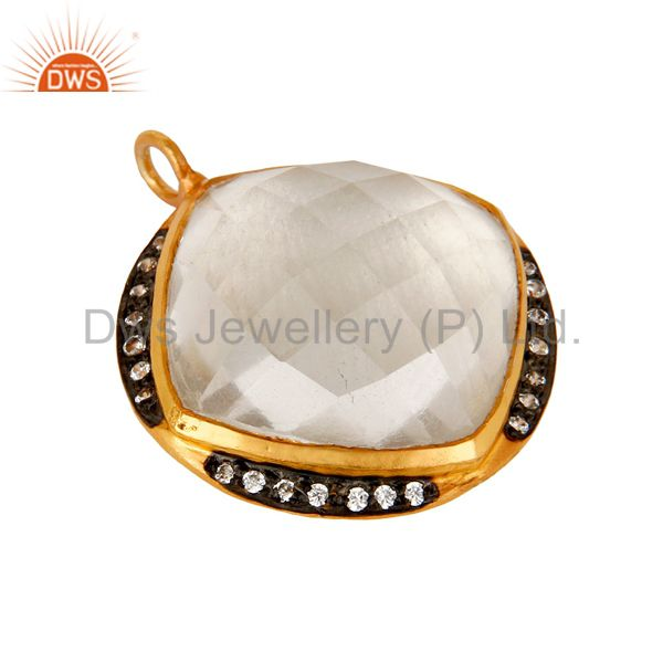 Exporter 18K Yellow Gold Plated Sterling Silver Crystal Quartz And Cubic Zirconia Pendant