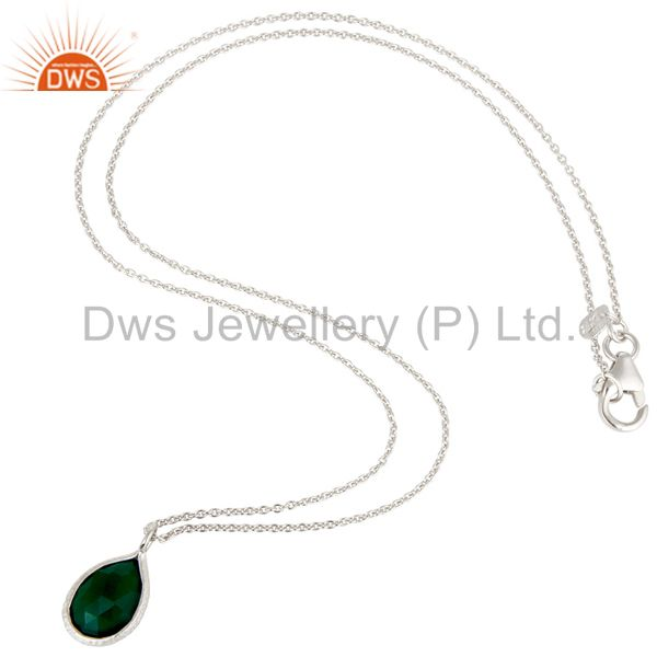 Exporter Handmade Sterling Silver Green Onyx Gemstone Bezel Set Pendant With Chain