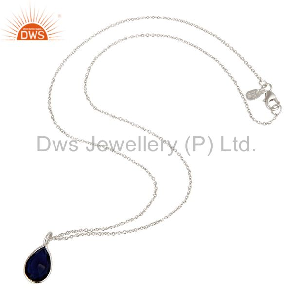 Exporter Solid Sterling Silver Blue Corundum Sapphire Gemstone Drop Pendant With Chain
