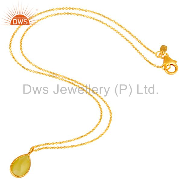 Exporter 18K Gold Plated Sterling Silver Lemon Topaz Gemstone Drop Pendant With Chain