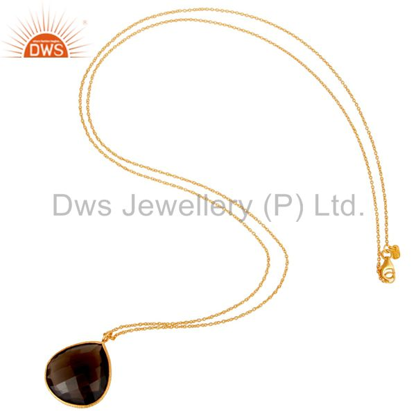 Exporter 18K Gold Plated Sterling Silver Smokey Quartz Bezel Drop Pendant With Chain