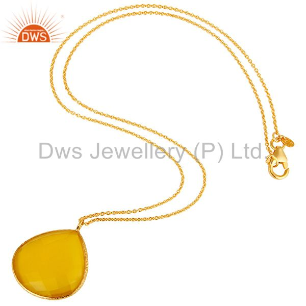 Exporter 18K Gold Plated Sterling Silver Yellow Moonstone Bezel Drop Pendant With Chain