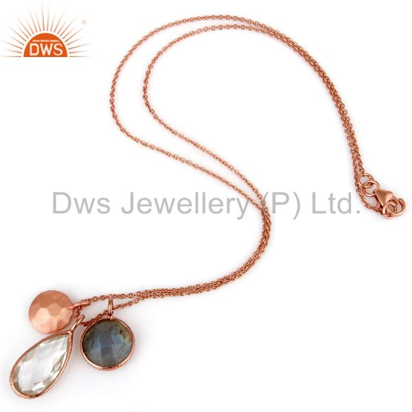 Exporter 18K Rose Gold Plated Silver Labradorite And Crystal Quartz Pendant With Chain