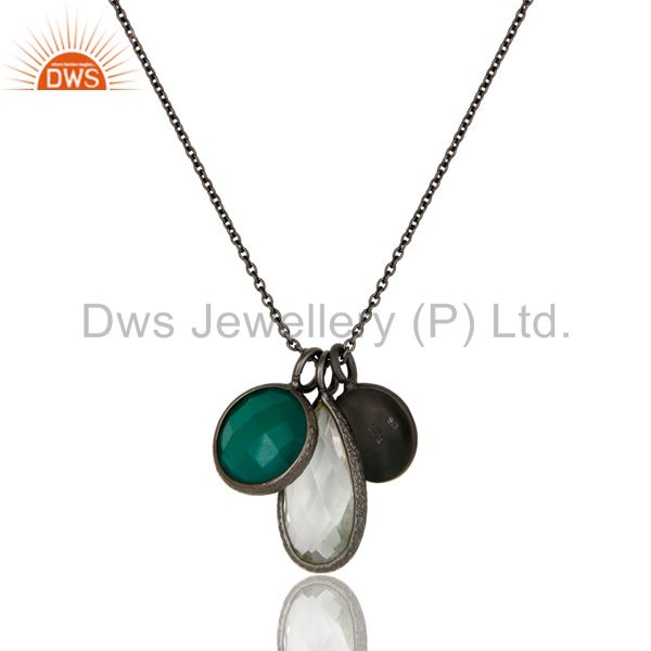 Exporter Oxidized Sterling Silver Green Onyx And Crystal Quartz Charms Chain Necklace