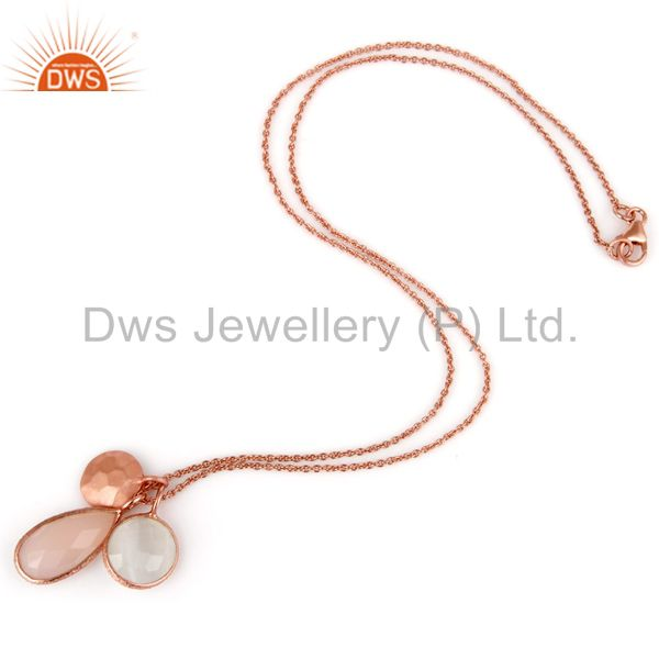Exporter Moonstone Rose Chalcedony 18K Rose Gold Plated Sterling Silver Chain Pendant