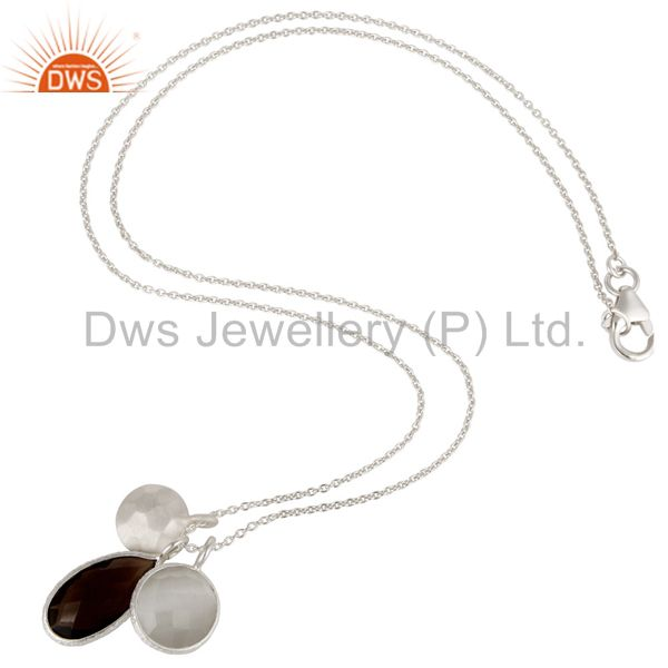 Exporter 925 Sterling Silver White Moonstone And Smoky Quartz Pendant With Chain