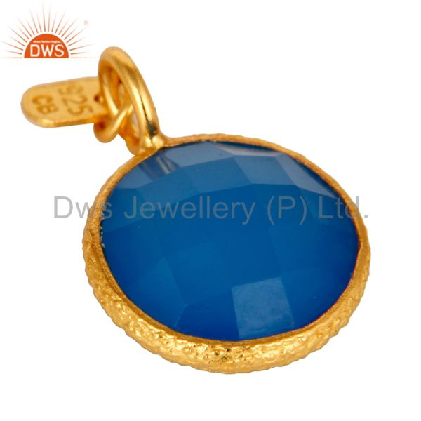 Exporter 18K Gold Plated Sterling Silver Faceted Blue Chalcedony Bezel Charm Pendant