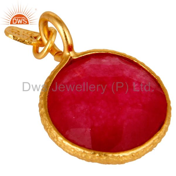 Exporter 18K Yellow Gold Plated Sterling Silver Red Chalcedony Bezel Set Charm Pendant
