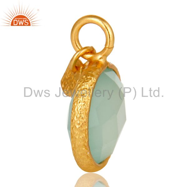 Exporter 18K Yellow Gold Plated Sterling Silver Aqua Chalcedony Bezel Set Charms Pendant