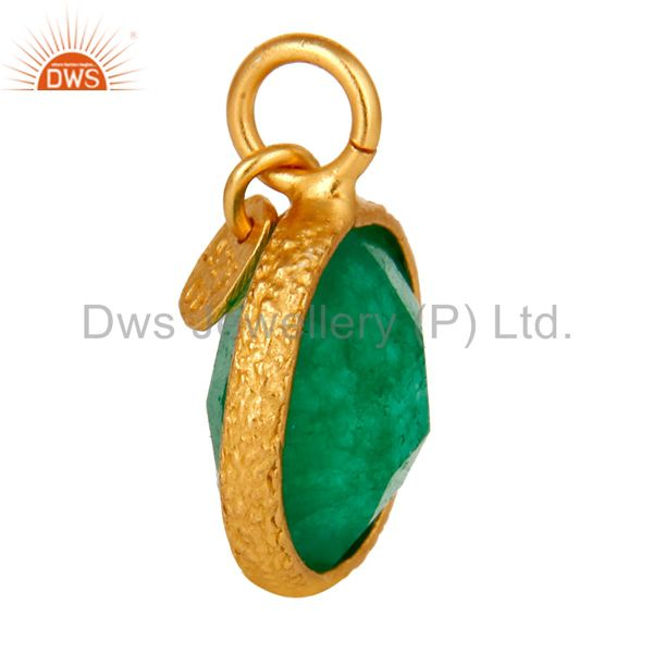 Exporter 18K Yellow Gold Plated Sterling Silver Green Aventurine Bezel Set Charms Pendant