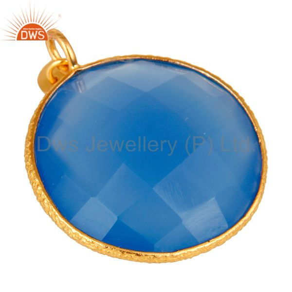 Exporter 18K Yellow Gold Plated Sterling Silver Blue Chalcedony Bezel Set Charm Pendant