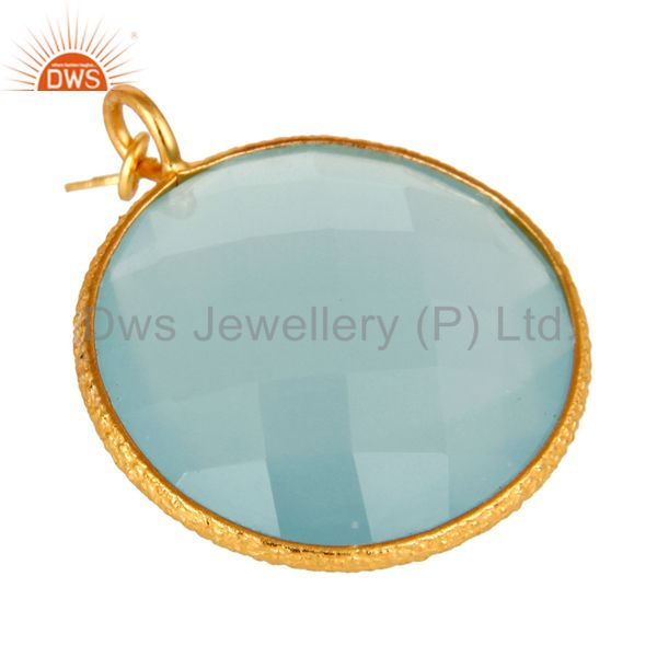 Exporter 18K Yellow Gold Plated Sterling Silver Aqua Chalcedony Bezel Set Charm Pendant