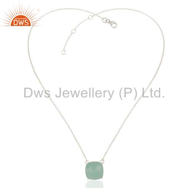 Exporter White Rhodium Plated 925 Silver Chain Gemstone Pendant Manufacturers