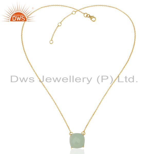 Exporter Aqua Chalcedony Gemstone Gold Plated Silver Pendant Manufacturer