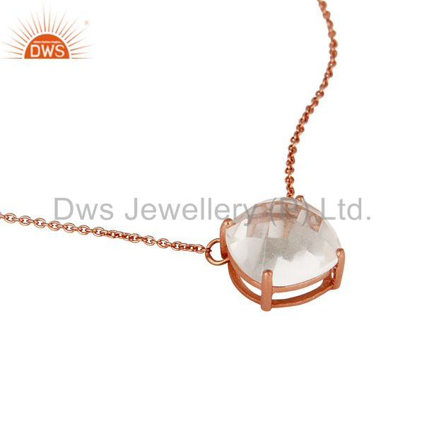 Exporter 925 Sterling Silver Rose Gold Plated Crystal Gemstone Prong Set Chain Necklace