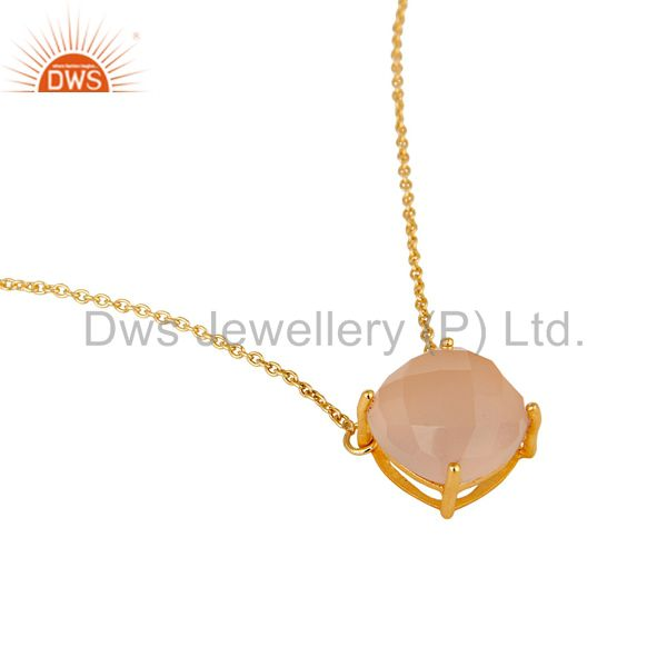 Exporter 18k Gold Plated Sterling Silver Chalcedony Gemstone Prong Set Chain Pendant