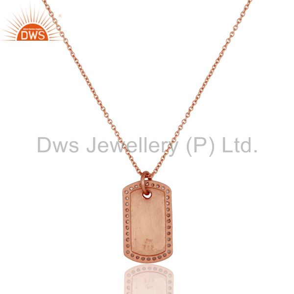 Exporter 18k Rose Gold 925 Sterling Silver White Topaz Simple Set Chain Necklace