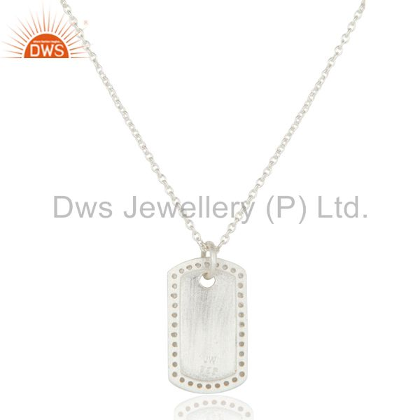 Exporter White Silver Plated 925 Sterling White Topaz Simple Set Chain Necklace
