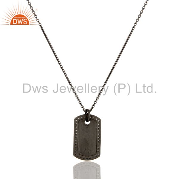 Exporter Oxidized Sterling Silver White Topaz Pendant With Chain Necklace