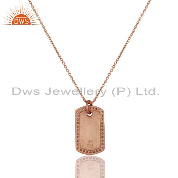 Exporter 18K Rose Gold Plated Sterling Silver White Topaz Strip Pendant With Chain
