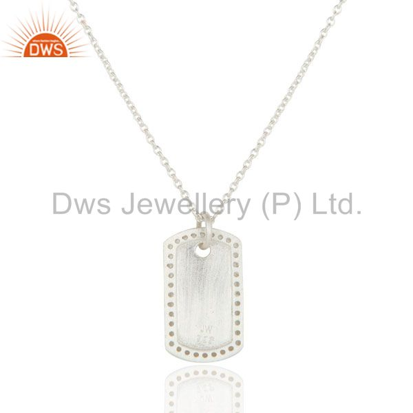 Exporter 925 Sterling Silver White Topaz Designer Pendant With Chain Necklace